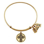Wind and Fire Fleur de Lis Cross Charm Gold Bangle Bracelet