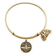 Wind and Fire Tree of Life Charm Gold Bangle Bracelet