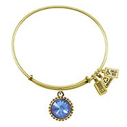 Wind and Fire March Swarovski Birthstone Charm Gold Bangle Bracelet