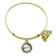 Wind and Fire April Swarovski Birthstone Charm Gold Bangle Bracelet