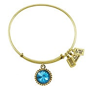 Wind and Fire December Swarovski Birthstone Charm Gold Bangle Bracelet