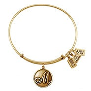 Wind and Fire Letter M Initial Charm Gold Bangle Bracelet