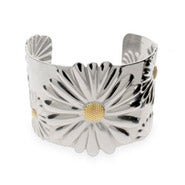 Designer Style Stainless Steel Daisy Cuff Bracelet
