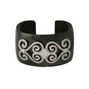 Designer Inspired Glamorous CZ Black Cuff Bracelet