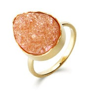 Genuine Rose Pink Drusy Quartz Peardrop Ring