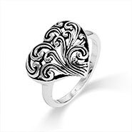 Bali Style Tree of Life Heart Ring