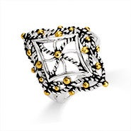 Designer Inspired Cable Filigree Diamond Shaped Ring