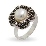 Pretty Pearl Marcasite Flower Ring