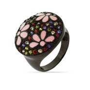 Black Rhodium Forest Enamel Flower Ring