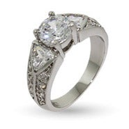 Wide Band CZ Engagement Ring with Triangle CZ Accents