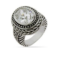 Designer Inspired Oval Diamond CZ Braided Ring