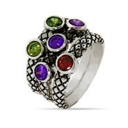 Designer Inspired Multi Color CZ Bali Style Ring Set