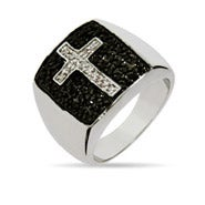 Designer Inspired Black Pave CZ Cross Ring