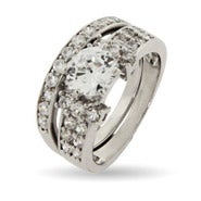 Dazzling Pave CZ Bridal Set with Brilliant Cut Center Stone