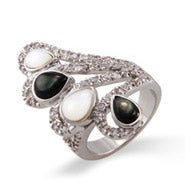 CZ Wing Cocktail Ring with Mother of Pearl