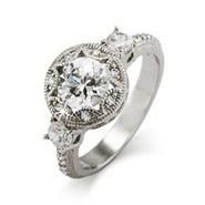 Stunning Brilliant Cut CZ Art Deco Engagement Ring