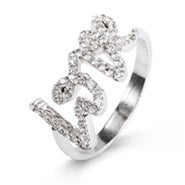 CZ Scripted Love Ring
