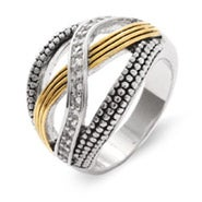 Designer Inspired Two Tone CZ Bali Style Infinity Ring