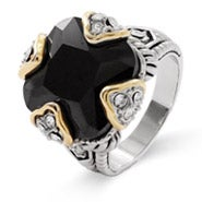 Designer Inspired Onyx Cushion Cut CZ Clover Ring
