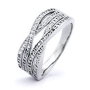 Four Band CZ Pave Criss Cross Ring