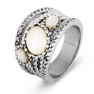 Six Band CZ and Oval Mother of Pearl Highway Ring