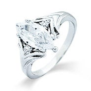 Marquise Cut CZ Ring with Brilliant Cut Accents