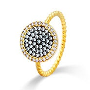 Gold Round Pave CZ Designer Inspired Ring