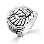 Designer Inspired Braided Rope CZ Bali Ring