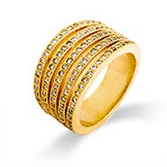 Gold Channel Set CZ Five Row Ring