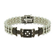 Vintage Style Three Row Pearl and Marcasite Bracelet