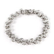 Designer Style Sterling Silver and CZ Bubbles Bracelet