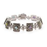 Multicolor CZ Fleur de Lis Sterling Silver Bracelet