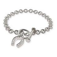 Designer Style Lucky CZ Horseshoe Toggle Clasp Bracelet