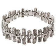 Glamorous Red Carpet Style Pave CZ Bar Linked Bracelet