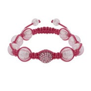 Pink Pave Crystal Shamballa Inspired Bead Bracelet