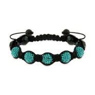 Blue Zircon and Hematite Shamballa Style Bracelet