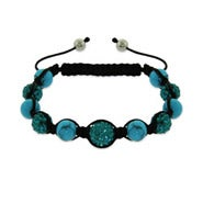 Sparkling Blue Austrian Crystal and Turquoise Bead Shamballa Style Bracelet