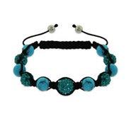 Sparkling Blue Austrian Crystal and Turquoise Bead Shamballa Style Bracelet