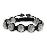 Sparkling 12 mm White Austrian Crystal Shamballa Style Bracelet