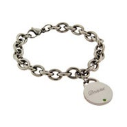 Close to the Heart Stainless Steel Birthstone Round Tag Bracelet