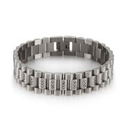 Designer Style Men's Stainless Steel Watch Link CZ Bracelet
