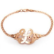 Rose Gold Plated Initial Bracelet with Birthstone