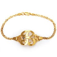 Gold Plated Initial Bracelet with Birthstone