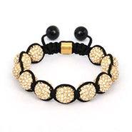 Sparkling 12mm Golden CZ Pave Shamballa Style Bracelet