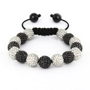 Sparkling 12mm White and Black CZ Bead Shamballa Style Bracelet