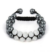 Designed Inspired White Crystal Pave Spiritual Bead Bracelet