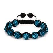 12mm Teal Austrian Crystal Shamballa Style Bracelet