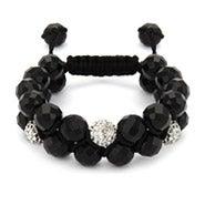 Designer Inspired White Crystal & Onyx Bead Spiritual Bracelet