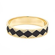 House of Harlow 1960 Leather Pave Sunburst Bangle in Black and Gold