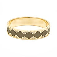 House of Harlow 1960 Leather Pave Sunburst Bangle in Khaki and Gold
